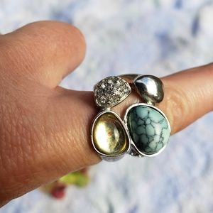 Vtg Multi-Stone Inlay Chunky Silver Statement Ring